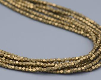 Faceted 3mm Cornerless Cube Beads Brass -250  Spacer beads  Diamond Cut SKU-MCC4B-27 Jewelry Making Supplies