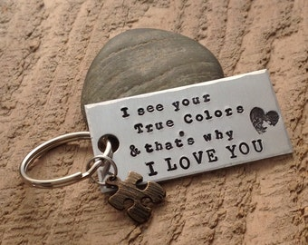 Autism Awareness Keychain, hand stamped with love!