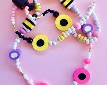 Liquorice allsorts Candy Bead Necklace