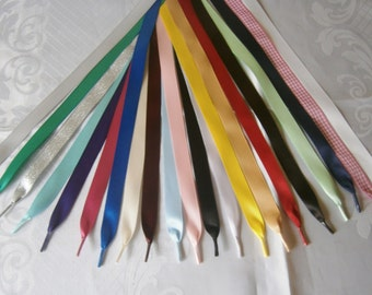 """Satin & Glitter Ribbon Shoe Laces - Trainers,boots,shoes - Aglets on the ends - Many colours available -5/8"""" (15mm) width"""