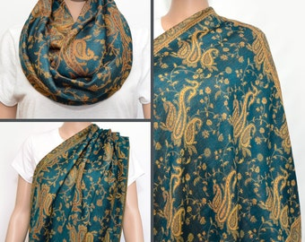 Teal Paisley Infinity Scarf / Nursing Cover / Breastfeeding Cover / Nursing Scarf