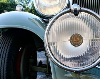 Green 1930s Packard Detail Photograph - Classic Car Art Photography by Liberty Images - Headlights and Grille - Curving Fender - Packard 900