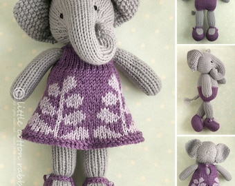 Toy knitting pattern for a girl elephant in a frondy frock