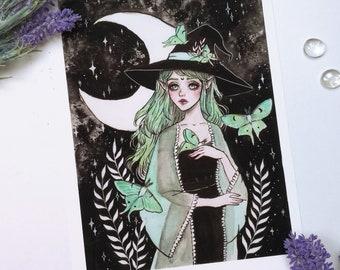 Luna moth witch Art print