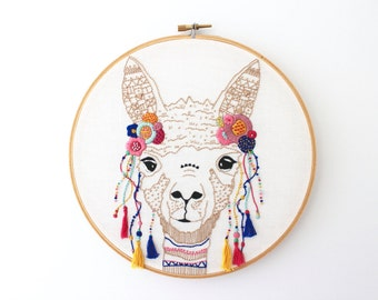 PDF Digital Download - Artist Series - Peruvian Llama Embroidery Pattern - Thread Folk and Farrah's Stone