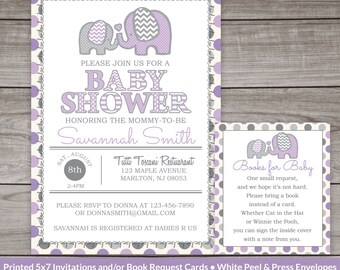 Purple Elephant Baby Shower Invitations - Purple Elephant Baby Shower Invites Baby Girl  Purple and Gray Baby Shower 242