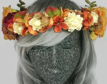 Burnt Orange Autumn Flower Crown