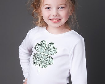 Long Sleeve Boutique St. Patrick's Day Bling Shirt- Perfect for, Parties, Irish Pride, and Portraits- Great with Tutus and Pettiskirts