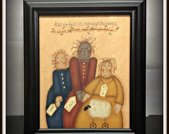 Primitive Folk Art Dolls 8 x 10 Framed Canvas Home Decor Wall Art