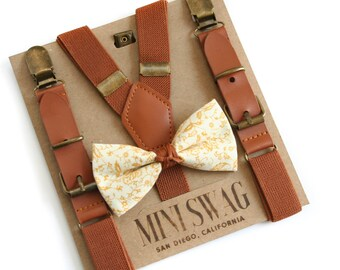 Boys Bow Tie, Leather Suspenders, Fall Bow Tie, Autumn Wedding Outfit, Thanksgiving Outfit, Page Boy, Ring Bearer Outfit, Cake Smash Outfit