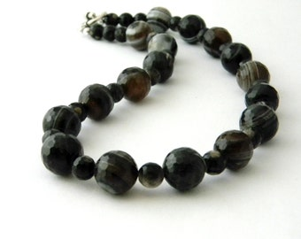Black Agate Stone Necklace Toggle Clasp Beaded Necklace 18 Inch