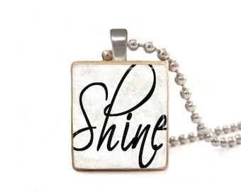 Shine Necklace | Inspirational Jewelry | Shine Charm | Shine Pendant | Word Necklace | Encouragement Gift | Graduation Gift Black and White