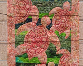 Turtle art quilt wall hanging
