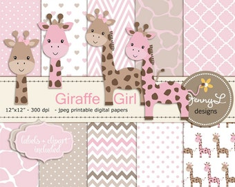 Giraffe Girl Baby Shower Digital Papers and Clipart, Girl Baptism, Dedication, Birthday, Baby Giraffe Clipart, Giraffe Print, Animal Print