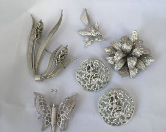 Bundle of Brooches Pins Earrings Clip On Vintage 5 Lot Silver Tone Butterfly Bird Etc