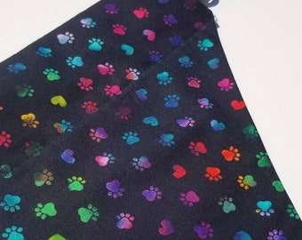 Multicolor Paws Over the Collar Dog Bandana that Slips onto their Existing Collar. Paw Print Dog Bandana. Rainbow Paws Dog Bandana.
