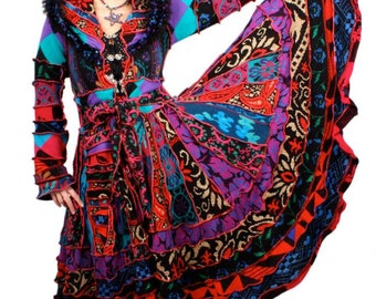 Reconstructed Sweater Coat TUTORIAL by Katwise - Psychedelic Gypsy Festival Circus Party