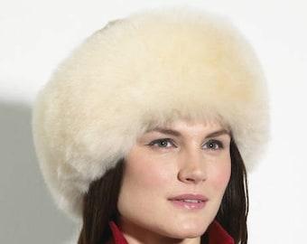 NEW Ladies Womens FINE 100% Baby Alpaca champagne  Fur Hat