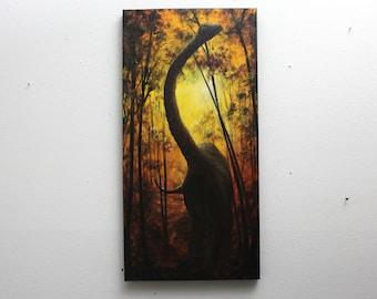 "10x20"" Original Oil Painting - Dinosaur Brachiosaurus Brontosaurus Forest Wall Art"