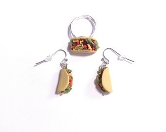 Taco Tuesday earrings and ring set. Hand sculpted food jewelry. Made to order, dollhouse miniature taco food earrings, tiny taco earrings