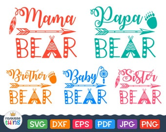 Mama Bear Svg Bear Family T-shirt Svg Vinyl Files Bundle (Papa, Brother, Baby, Sister) - Tribal Design for Cricut, Silhouette Dxf Png Eps
