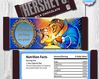Beauty and the Beast Candy Bar Wrapper,  Beauty and the Beast Hershey Bar Wrapper, INSTANT DOWNLOAD, Digital File, You Print