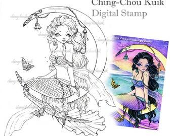 Moon Journey - Digital Stamp Instant Download / Butterfly Ocean Cresent Moon Mermaid Fairy Girl Fantasy Art by Ching-Chou Kuik