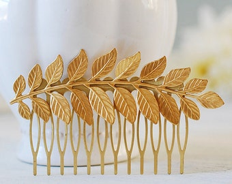 Gold Leaf Hair Comb. Bridal Hair Comb, Leaf Headpiece, Wedding Hair Accessory, Woodland Hair Accessory, Gold Brass Leaf Branch Hair Comb