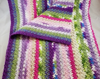 Hand Knit 100% cotton Baby / Lap Blanket