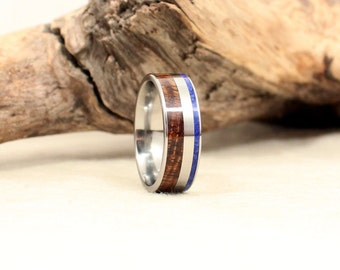 Wooden Ring - Hawaiian Koa and Lapis Lazuli Deconstructed Titanium Ring
