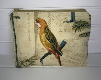 Tropical Parrot Pouch   Handmade Zipper Pouch