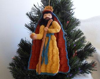 crochet DIY nativity pattern of Joseph ornament, thread crochet instructions, home decor ornament, wreath decoration pattern