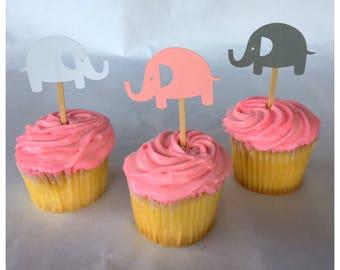 Elephant Cupcake Topper- Elephant Baby Shower-Elephant Cupcake Topper Baby Shower-Elephant Baby Shower Decor-Elephant Baby Shower Decoration