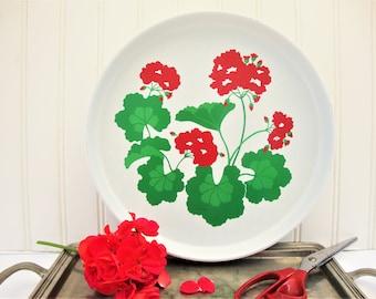 vintage red geraniums round metal tray