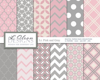Light Pink, Gray, and Cream Paper Pack - 12 digital paper patterns - INSTANT DOWNLOAD