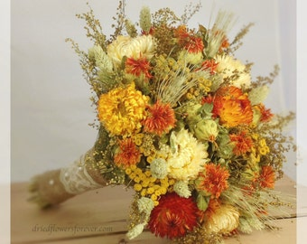 Fall wedding bouquet etsy burnt orange dried preserved wedding flower bouquet bridal bouquets rustic fall golden yellow champagne prairie sunset collection mightylinksfo