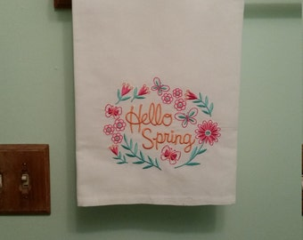 Hello spring embroidered towel