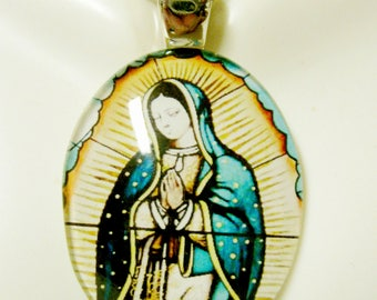 Our Lady of Guadalupe glass pendant with chain - GP18-130
