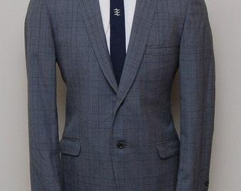 1950s men's blue and grey plaid blazer/ 50s men's plaid blazer/ Varsity Town