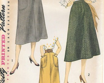 Waist 28-Simplicity 4179 1950s Simple to Make A Line Skirt with Patch Pockets Vintage Sewing Pattern