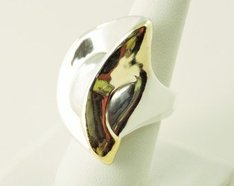 Size 8 Sterling Silver 2 Tone Wrap Ring