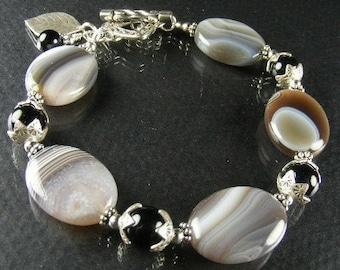 Botswana Agate Bracelet (Tabitha)  by Gonet Jewelry Design