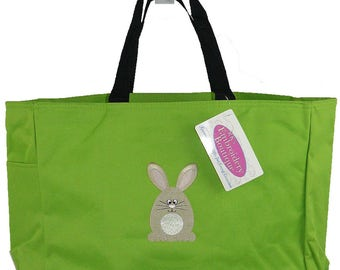 Cute Round Bunny Easter Rabbit Essential Tote Bag + Free Monogram Name Custom Embroidered