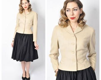 Vintage 1950's Cream Cropped Blazer Jacket Size X-small/ Small