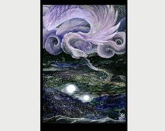 """Fantasy Art Ptint Dragon - """"Sower"""" - 30x45 sm - 11,81 x 17,7 inch"""