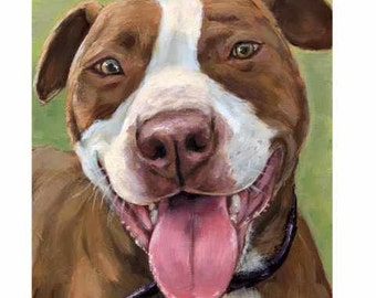 Pit Bull Dog, Dog Art, Original Acrylic Painting, 8x10, by Dottie Dracos, Pit Bull Painting, Red Bully, Red Nose, Pit Bull, SALE!