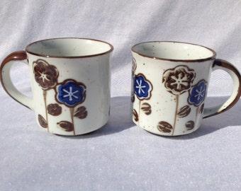 Set Of 2 Coffee Mugs Blue Brown Flowers Vintage Coffee Mugs Decorative Mugs