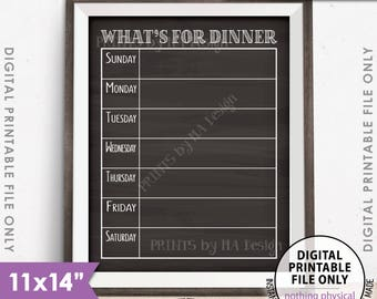"""What's for Dinner Menu Sign, Dinner Kitchen Sign, Daily Dinner Sign, Daily Menu Board, 11x14"""" Chalkboard Style PRINTABLE Instant Download"""