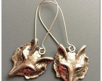 Fox Mask Antique Silver Earrings