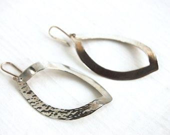 Large Hammered Sterling Silver Dangle Earrings  Vintage Mexican Modernist Drop Leaves Taxco Mexico Modern Statement Diamond Dangles